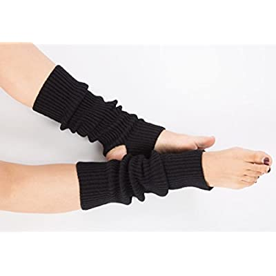 Women Stirrup Leg Warmers Boot Cuffs Socks Knee High Length Crochet for Dance Yoga (one size, 2 Pairs Black) at Women's Clothing store