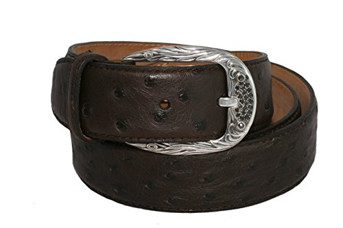 Belt by Urso Luxury buckle in Sterling silver and black Diamonds in Ostrich Skin by Urso Luxury