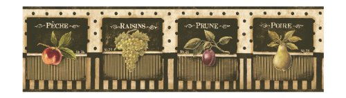 York Wallcoverings Europa II Vintage Fruit Label Prepasted Border, (Home Depot Wallpaper Border)