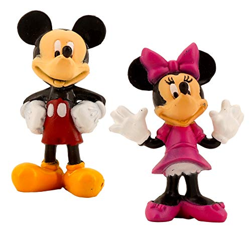 Mickey and Minnie Mouse Figurine, Toy, Cake Topper (2 Pack, 1 of each - 3 in, Plastic Resin) Birthday Cakes, Muffins, Party Favors, Decor