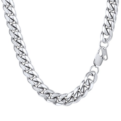 Cuban Link Chain,Stainless Steel,Necklaces for Men, Men's Chains,Jewelry for Him, Anniversary Gifts for Men, Valentine's Day,Steel Collar,PSN2910G-20 10mm Chain Necklace