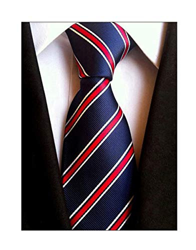 Elfeves Men's Modern Striped Patterned Formal Ties College Daily Woven Neckties (One Size, Navy Red) Blue Ties Stripes Necktie