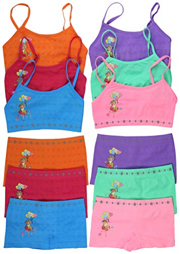 (ToBeInStyle Girls' Pack of 6 Set of Matching Bras & Boyshorts (Small (Ages 4-6), Floating with Balloons))