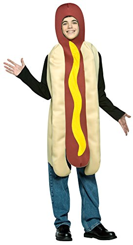 Teen Hot Dog Funny Costumes (UHC Comical Hot Dog Outfit Funny Theme Party Fancy Dress Halloween Teen Costume, Teen (13-16))