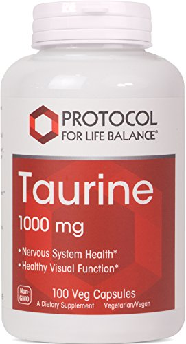 Protocol For Life Balance - Taurine 1,000 mg - Supports Nervous System and Healthy Visual Function - 100 Veg Capsules