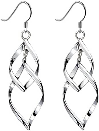 Bassion Womens Sterling Silver Earrings Classic Double Linear Loops Design Drop Dangle Earring