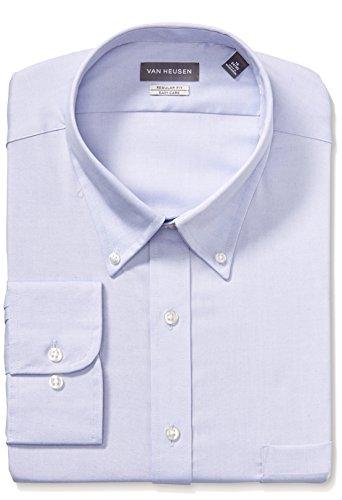 """Van Heusen Men's Pinpoint Regular Fit Solid Button Down Collar Dress Shirt, Blue, 17"""" Neck 34""""-35"""" Sleeve from Van Heusen"""