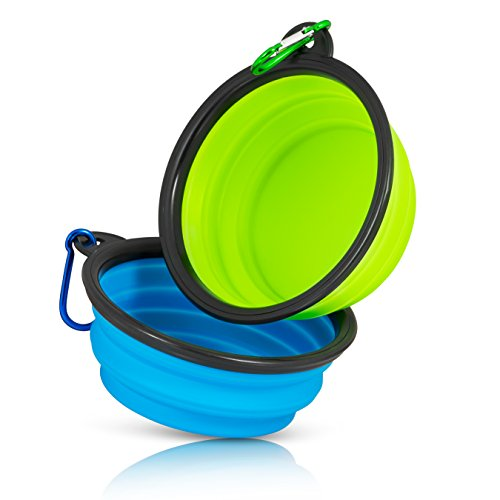 Price comparison product image Collapsible Travel Dog Water & Food Bowl Set By Starling's-12 Oz Capacity- Silicone Risk-Free Construction-BPA Free & FDA Approved- D-Ring Included. Portable - Ideal for Traveling, Hiking, or Camping.