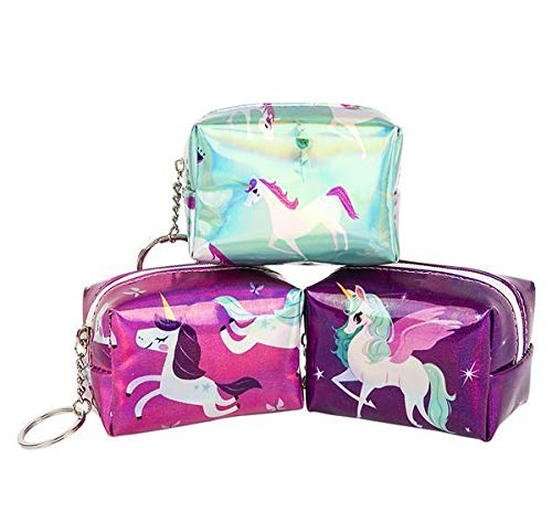 3.75'' Metallic Unicorn Coin Purse Keychain, Case of 288