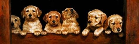 [Oil Painting 'Cute Golden Retriever Puppies', 24 x 75 inch / 61 x 191 cm , on High Definition HD canvas prints is for Gifts And Bar, Foyer And Study Room Decoration,] (Half Doll Half Zombie Costume)