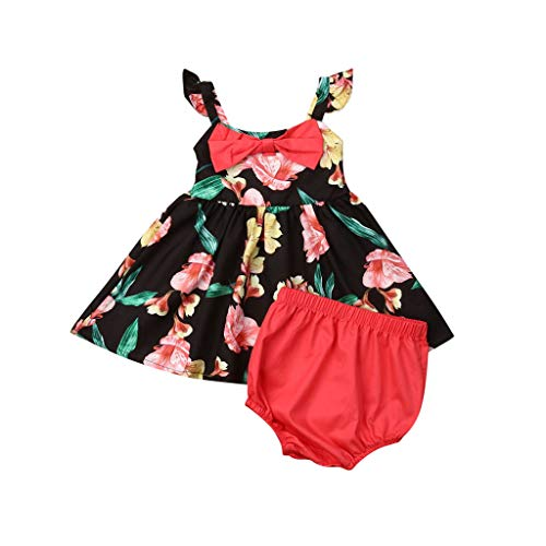 Guo Nuoen 2 Pieces Infant Baby Girls Casual Sleeveless Floral Print Party Dresses Clothes + Solid Shorts Outfit Black ()