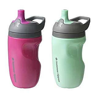 Tommee Tippee Insulated Sportee Toddler Water Bottle with Handle, Girl - 12M+, 2ct