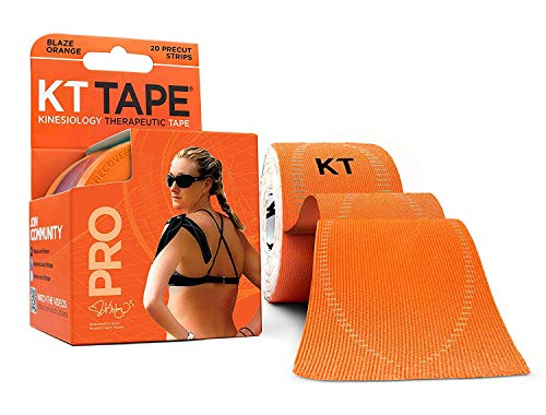 KT Tape Pro Kinesiology Therapeutic Sports Tape, 20 Precut 10 inch Strips, Blaze Orange, Latex Free, Water Resistance, Pro & Olympic Choice