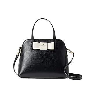Kate Spade New York Maise Matthews Street Leather Satchel Handbag – New, Black/Cement, One Size