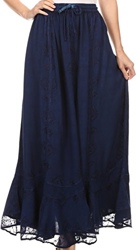 Sakkas SK16319 - Jaclyn Adjustable Skirt with Lace Embroidered Trim and Detailed Embroidery - Navy - OSP -
