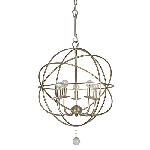 Crystorama 9224-OS Transitional Five Light Mini Chandelier from Solaris collection in Pwt, Nckl, B/S, Slvr.finish, 17.00 inches from Crystorama