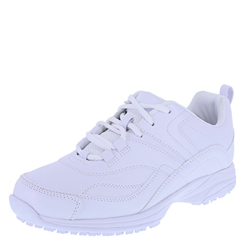 safeTstep Slip Resistant Women's Smooth White Women's Athena Sneaker 9 Wide by safeTstep