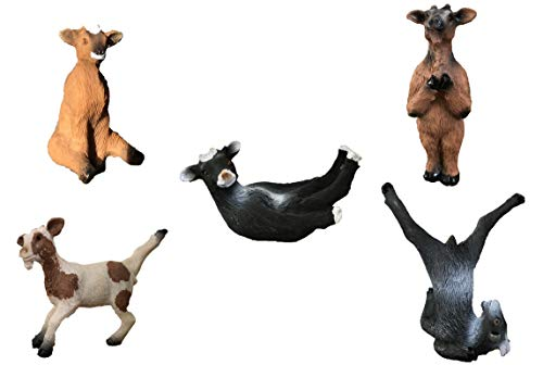 "Yoga with Goats Figurines by Bella Haus Designs -Set of Five Goat Statue Action Figures, Goat Yoga Decor- 3"" Goat Yoga Poses"