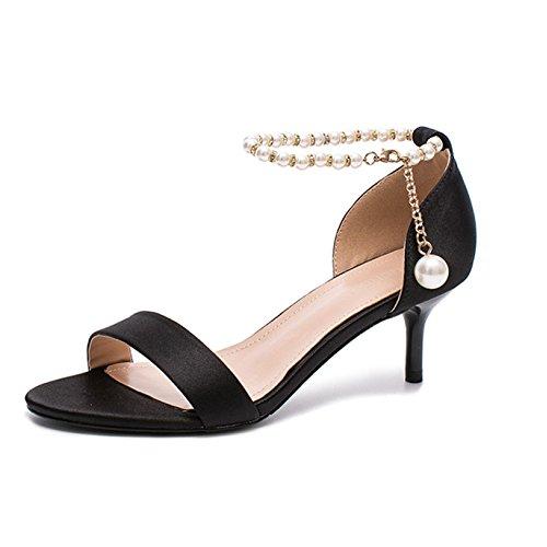 Talon Chaussures Femmes Occasionnels Yra 39 à Chaussures Sandales Mots Black Perle Stilettos 35 Talons Banquet Hauts Chaussures D'été Moyen vnO1cSW