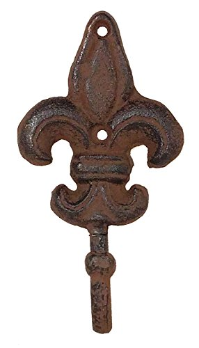 Rustic Iron Fleur De Lis Decorative Wall Hooks (sold in sets of 3 lg)