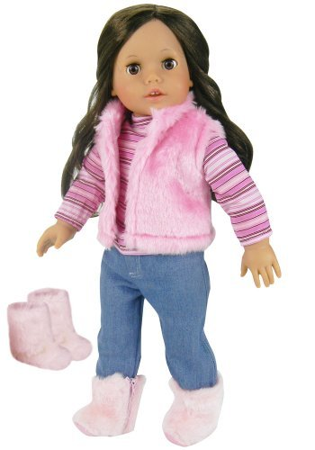 Sophia's Doll Clothes for 18 Inch Doll 4 Pc. Doll Outfit Set of Pink Fur Vest, Shirt, Jeans, and Fur Boots Made, Fits 18 Inch American -