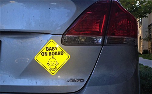Large Product Image of NEW DESIGN: Reflective and Magnetic Baby on Board Sign for Your Car or Auto (2 Pack) by Bayamo