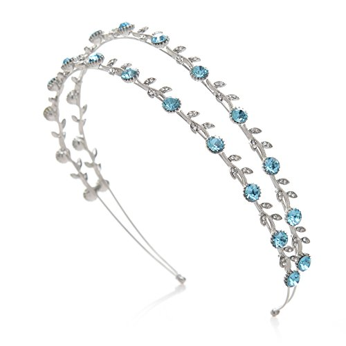 SWEETV Bridal Headband Crystal Hair Band Rhinestone Wedding Hair Accessories for Women, Double Band Blue by SWEETV