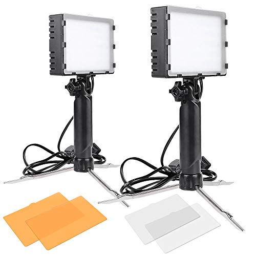 (Slow Dolphin 2 Sets Photography Continuous 60 LED Portable Light Lamp for Table Top Photo Studio with Color)