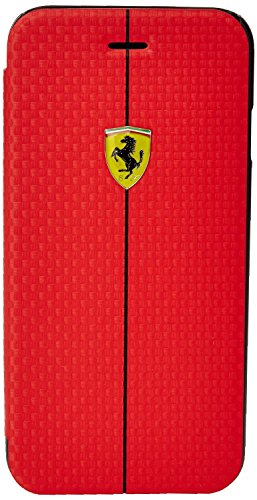Ferrari Booktype FORMULA 1 Carbon Tasche für Apple iPhone 6/6S rot