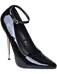 Devious 6 1/4 Solid Bass Heel Womens Sexy Fetish Pumps Ankle Strap