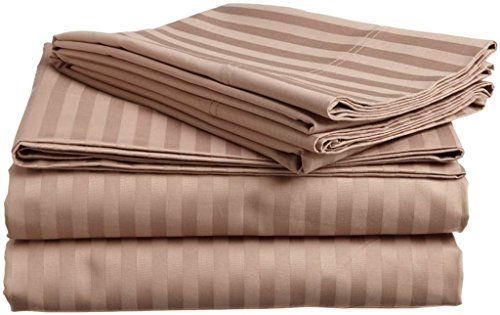 Linenwala 100% Cotton 400 TC 4 Piece Premium Sheet Set (1 Fitted Sheet, 1 Flat Sheet and 2 Pillowcases) Fit Up to 15-Inch-Deep Pocket (Full, Taupe Stripe)