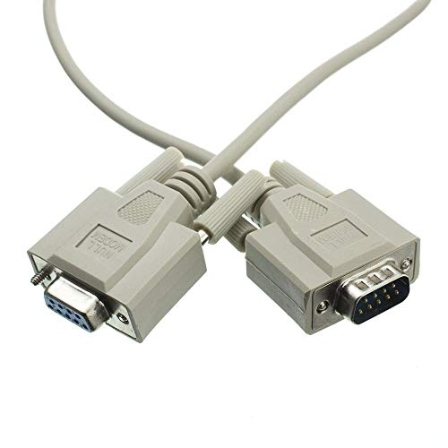 Extender 232 Port Rs - GOWOS Null Modem Cable, DB9 Male to DB9 Female, UL Rated, 8 Conductor, 15 Foot - Beige Molded Cross Serial Extension Adapter Wire