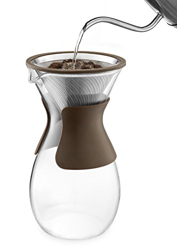 Osaka Pour Over Coffee Maker with Reusable Stainless Steel Drip Filter, 37 oz (7-Cup) Glass Carafe and Lid 'Senso-JI', Brown by Actor (Image #3)