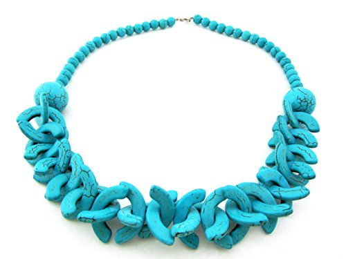 (Simulated Turquoise Chunky Collar Necklace for Women Beaded Blue Howlite Strand Handmade Stone (Chunky))