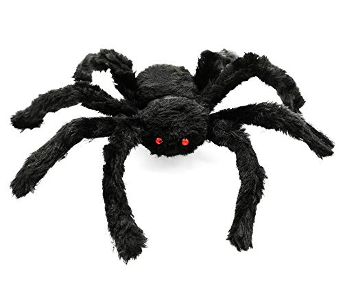 30cm/12 Inch Scary Halloween Black Spider Spooky Fake Spider Plush Toy For Halloween Party Decoration Props Prank -