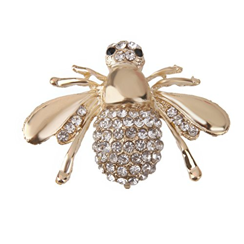 MagiDeal Lovely Small Honey Bee Rhinestone Brooch Pin for Women Gold