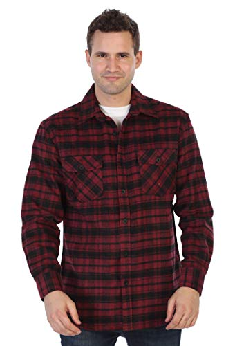 Gioberti Men's Plaid Checkered Brushed Flannel Shirt, Burgundy/Black, Medium