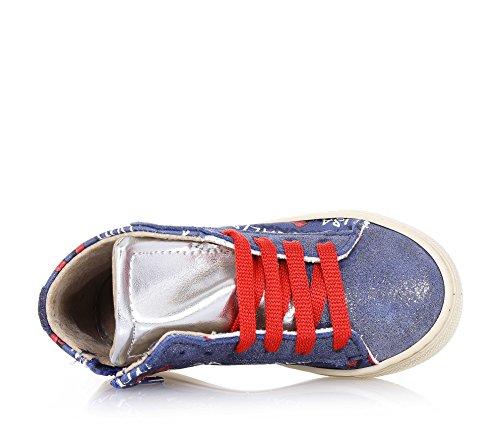 MONNALISA - Roter und blauer Sneaker mit Schnürsenkeln aus Stoff, dessen Design typisch für hochwertiges Made-in-Italy ist, seitlich ein Reißverschluss und dekorative Muster, Mädchen