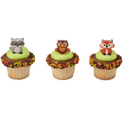 Woodland Animal Friends Cupcake Topper Rings - Set of 12 (Owl, Raccoon, Fox)