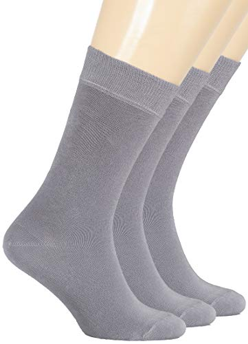 Hugh Ugoli Women's Dress Socks Bamboo Viscose Crew Socks - Light Grey (Shoe size: 9-12)