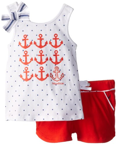 Nautica Baby-Girls Infant Fashion Graphic Tank and Knit Short Set, True Red, 24 Months