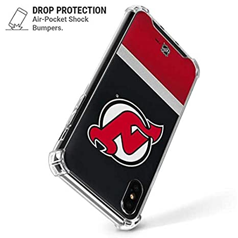 Amazon.com  Skinit New Jersey Devils Jersey iPhone XR Clear Case -  Officially Licensed NHL Phone Case Clear - Transparent iPhone XR Cover   Cell Phones   ... b88f092bf