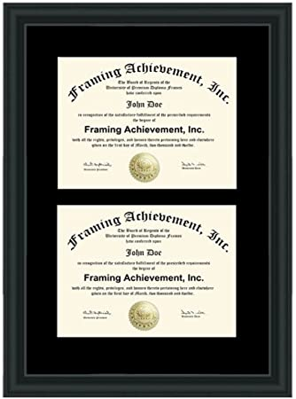 double diploma frame premium wood satin rich black single black mat dual certificate