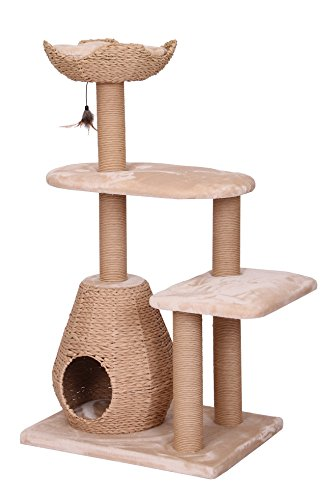 PetPals Paper Rope Natural Bowl Shaped with Perch Cat Tree and condo (PP2582NTR)26x18x49