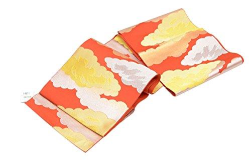 コンテストコレクションジャニスリサイクル 帯 名古屋帯 正絹 八寸 オレンジ地 雲取り hh5290