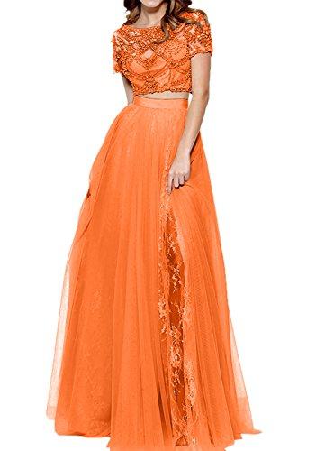 Abendkleider teilig Zwei Kleid Lang Orange Damen Spitze Abschlussballkleider Romantisch Charmant Promkleider xt1AIEq