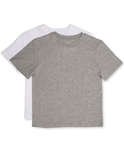 White Undershirt Baseball (Calvin Klein Boys' Big 2 Pack Crewneck T-Shirts, New Heather Gray/Classic White, Medium 8/10)