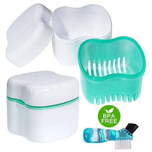 Scotte Denture Case,Dentures Box,Denture Brush Retainer Case,Denture Cups Bath,Dentures Container with Basket Denture Holder for Travel,Retainer Cleaning Case (Green)