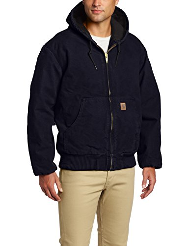 Carhartt Men's Quilted Flannel Lined Sandstone Active Jacket J130,Midnight,Large