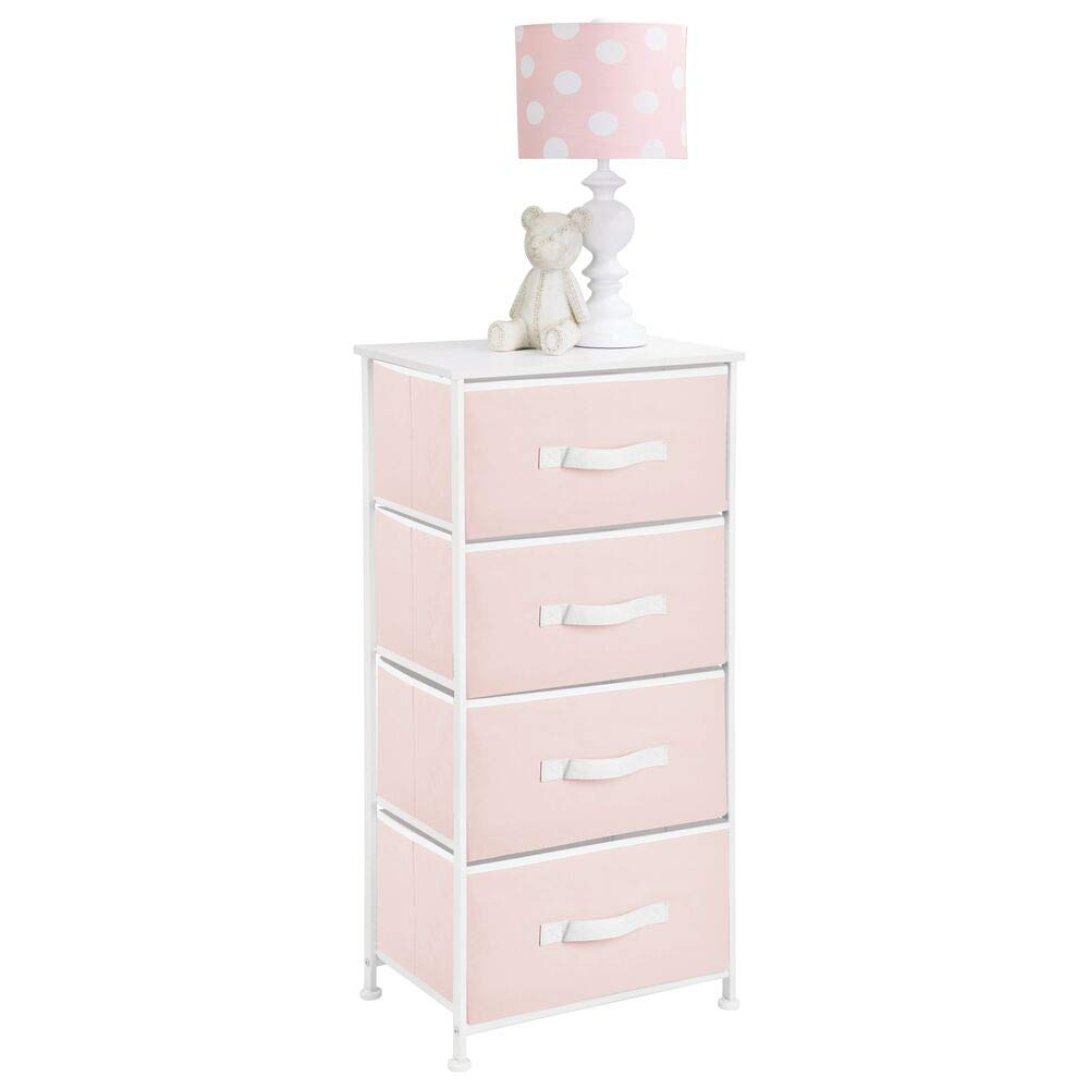 mDesign 4-Drawer Vertical Dresser Storage Tower - Sturdy Steel Frame, Wood Top and Easy Pull Fabric Bins, Multi-Bin Organizer Unit for Child/Kids Bedroom or Nursery - Light Pink/White by mDesign